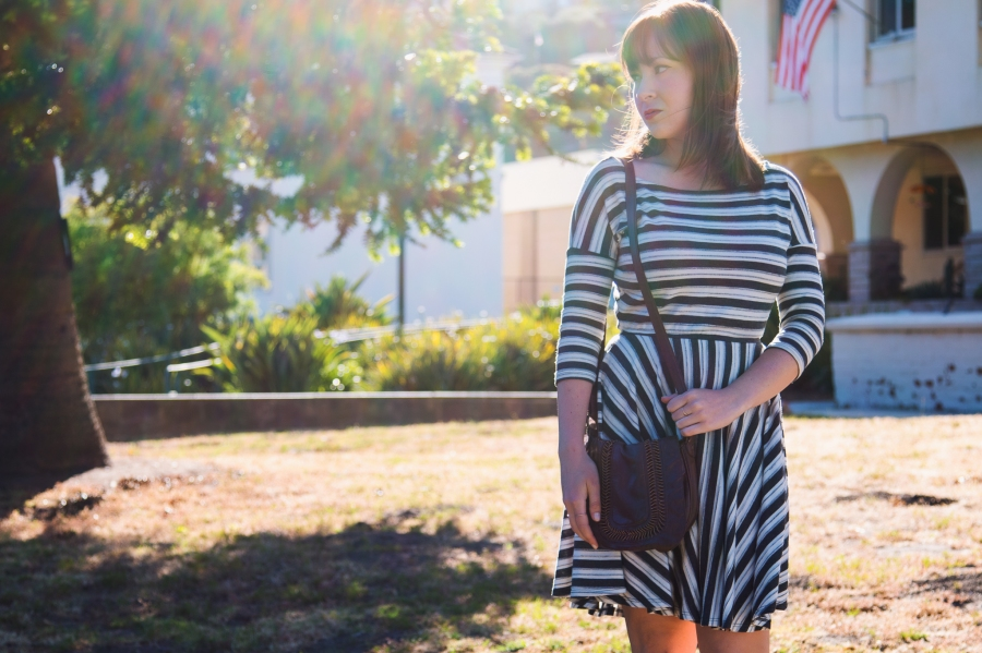Gray Striped Dress